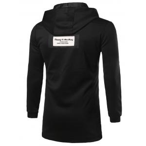 Hooded Zip Up Pocket Patched Longline Coat -