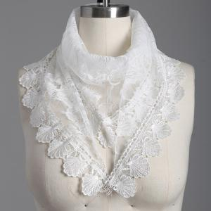 Travel Leaf Tassel Pendant Trim Lace Triangle Scarf - WHITE