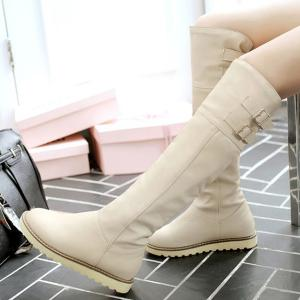 Flat Faux Leather Buckle Knee High Boots -