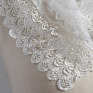 Travel Openwork Wave Cut Edge Trim Lace Triangle Scarf - WHITE