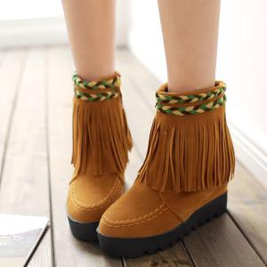Increased Internal Weaving Fringe Ankle Boots - YELLOW 39