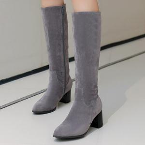 Pointed Toe Suede Zip Boots - GRAY 39