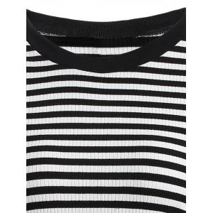 Mesh Spliced Striped Faux Twinset Sweater Dress -
