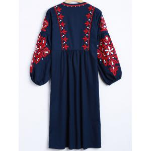 Casual Lantern Sleeve Embroidered Dress -