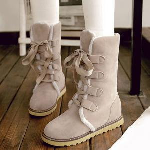 Winter Warm Suede Tie Up Snow Boots - OFF-WHITE 39