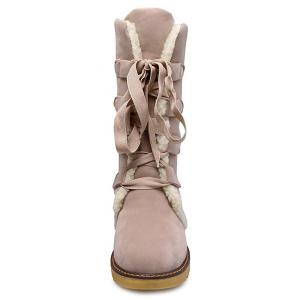 Winter Warm Suede Tie Up Snow Boots - OFF WHITE 39
