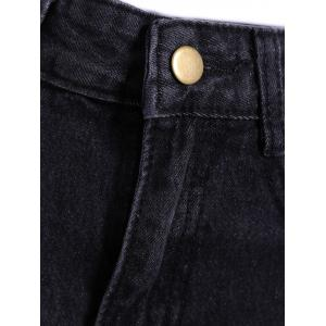 High Waisted Frayed Hemming Jeans -