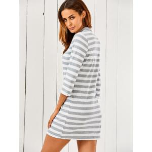 3/4 Sleeve Striped Sweater Dress -