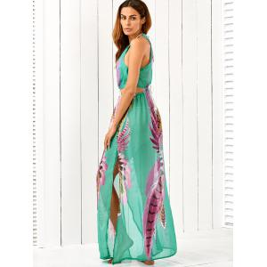 Cut Out High Slit Printed Drawstring Halter Chiffon Maxi Dress -