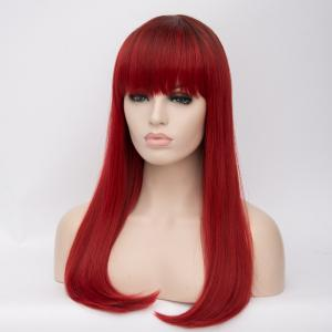 Long Tail Adduction Neat Bang Straight Ombre Synthetic Wig - COLORMIX