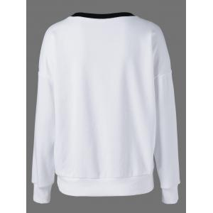 Drop Shoulder Sweatshirt - WHITE AND BLACK M