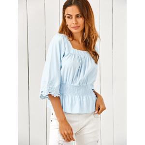 Square Neck Ruched Smock Lace Spliced Blouse -