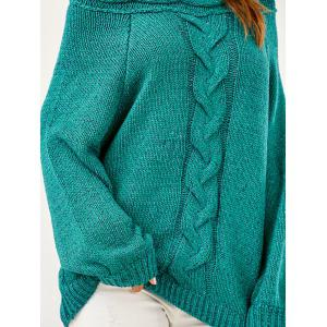 Puffed Sleeve Cable Knit Oversized Sweater -
