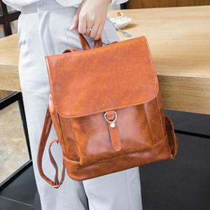 Metal Magnetic Closure PU Leather Backpack -
