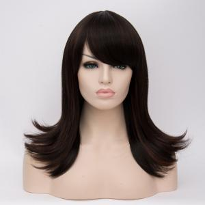 Long Oblique Bang Straight Tail Upwards Highlight Synthetic Wig - COLORMIX