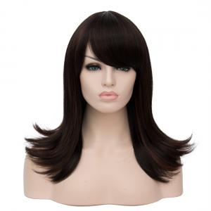 Long Oblique Bang Straight Tail Upwards Highlight Synthetic Wig -