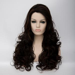 Long Shaggy Side Parting Wavy Highlight Synthetic Wig - COLORMIX
