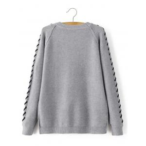 Braided Pattern Flap Pockets Pullover Sweater - GRAY ONE SIZE