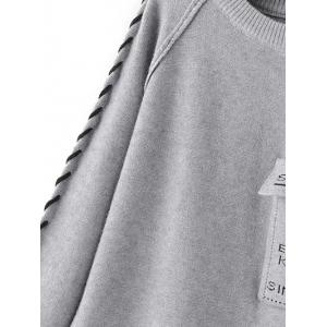 Braided Pattern Flap Pockets Pullover Sweater -