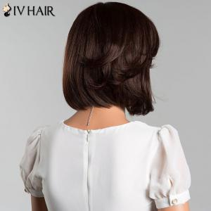 Short Oblique Bang Bob Straight Human Hair Wig - COLORMIX