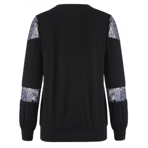 Loose Embroidered Lace Spliced Tee - BLACK 2XL