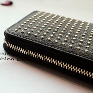 Rivet Studs Zip Around Wristlet Wallet - BLACK