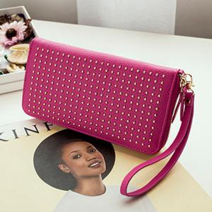 Rivet Studs Zip Around Wristlet Wallet -
