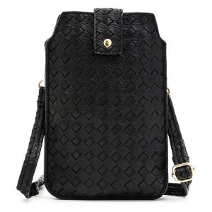 Magnetic Closure Woven Pattern Chain Crossbody Bag -