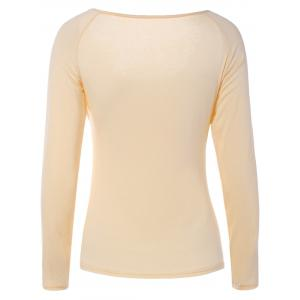 Elegant Sweetheart Collar Solid Color Long Sleeve Pullover T-Shirt For Women -