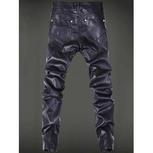 Five-Pocket Zippered Faux Leather Pants -