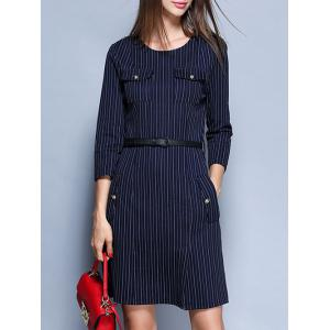 Striped Pockets Belted Pencil Dress - BLUE XL