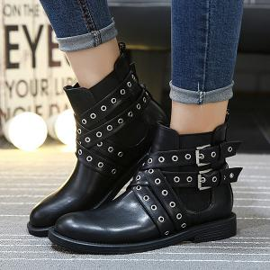 Double Buckle Eyelets Cross Straps Ankle Boots -