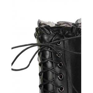 Lace-Up Pointed Toe Stiletto Heel Knee-High Boots -