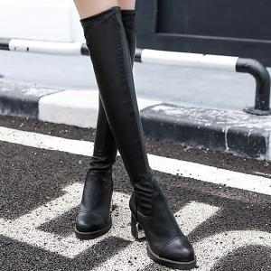 Platform PU Leather Back Zip Thigh Boots -