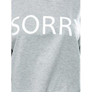 Loose Letter Print High-Low T-Shirt -