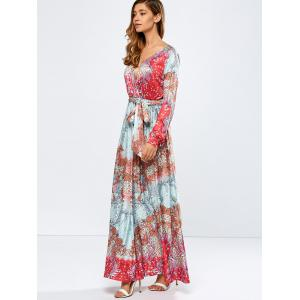 Printed Plunging Neck Beled Surplice Maxi Dress -
