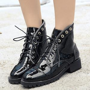 Patent Leather Eyelets Tie Up Ankle Boots -