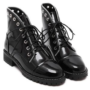 Patent Leather Eyelets Tie Up Ankle Boots - BLACK 39