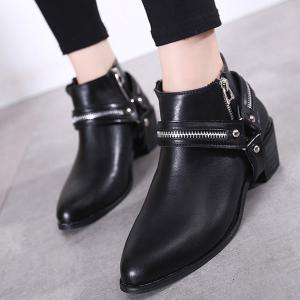 Pointed Toe Zip Metal Ankle Boots - BLACK 37