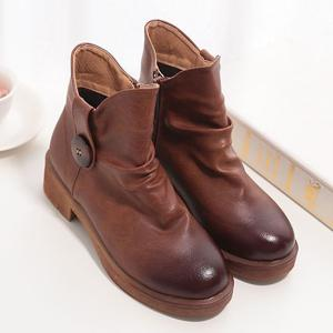 Chunky Heel Button Zip Ankle Boots -