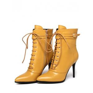 Pointed Toe Leather Lace-Up High Heel Boots -