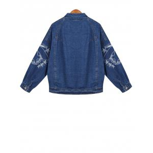Embroidered Buttoned Denim Jacket -