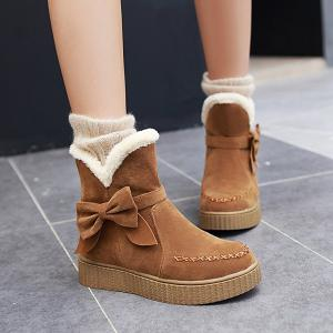 Suede Bowknot Stitching Snow Boots - BROWN 39