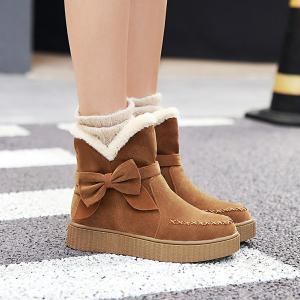 Suede Bowknot Stitching Snow Boots -