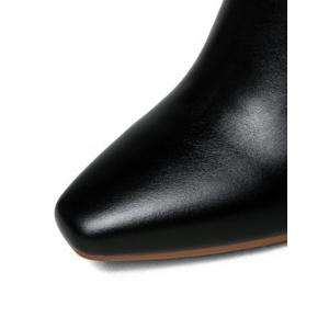 Square Toe Chunky Heel Leather Boots -
