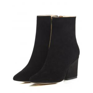 Side Zip Chunky Heel Pointed Toe Ankle Boots -