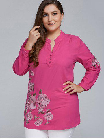 Shop Plus Size Floral Embroidered Short Linen Dress RED 2XL