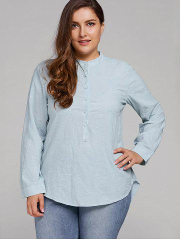 Plus Size Long Sleeve Floral Embroidered Shirt - Light Blue - Xl