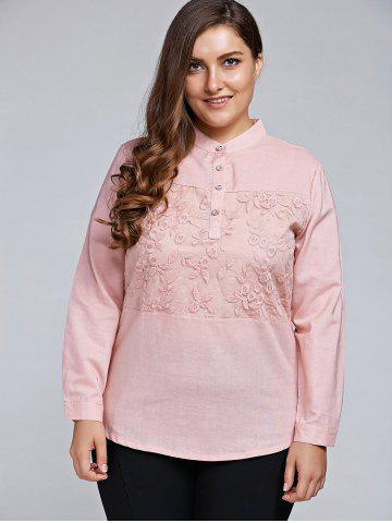 Hot Plus Size Long Sleeve Embroidered Formal Shirt LIGHT PINK 3XL