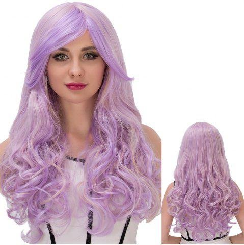 Fancy Long Fluffy Side Bang Wavy Purple Gradient Cosplay Synthetic Wig